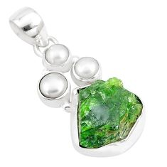 12.34cts natural green chrome diopside pearl 925 sterling silver pendant p17121