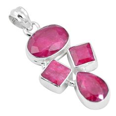 925 sterling silver 17.36cts natural red ruby oval pendant jewelry p17174