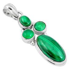 7.02cts natural green malachite (pilot's stone) oval 925 silver pendant p17181
