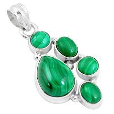 11.62cts natural green malachite (pilot's stone) 925 silver pendant p17183