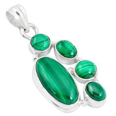 13.46cts natural green malachite (pilot's stone) 925 silver pendant p17186