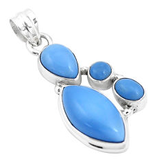 12.52cts natural blue owyhee opal 925 sterling silver pendant jewelry p17196