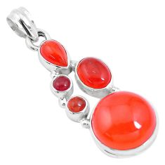 16.92cts natural orange cornelian (carnelian) 925 sterling silver pendant p17223