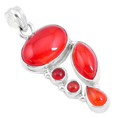 925 sterling silver 17.67cts natural orange cornelian (carnelian) pendant p17224