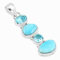 12.34cts natural blue larimar topaz 925 sterling silver pendant jewelry p17241