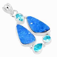 13.77cts natural blue doublet opal australian topaz 925 silver pendant p17405