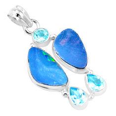 925 silver 12.60cts natural blue doublet opal australian topaz pendant p17406