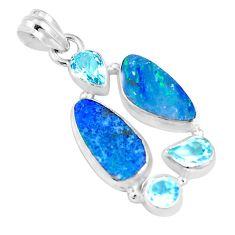 11.89cts natural blue doublet opal australian topaz 925 silver pendant p17412