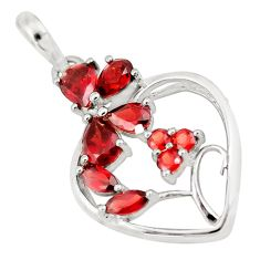 6.84cts natural red garnet 925 sterling silver heart pendant jewelry p17807