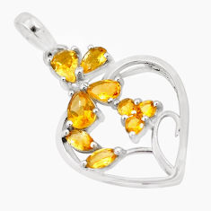 6.54cts natural yellow citrine 925 sterling silver heart pendant jewelry p17814