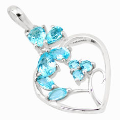 925 sterling silver 6.53cts natural blue topaz heart pendant jewelry p17818
