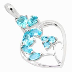 6.84cts natural blue topaz 925 sterling silver heart pendant jewelry p17819