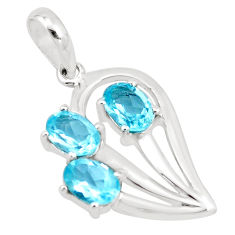 925 sterling silver 4.67cts natural blue topaz oval shape pendant jewelry p17864