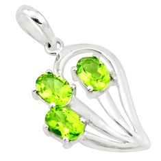 4.18cts natural green peridot oval 925 sterling silver pendant jewelry p17869