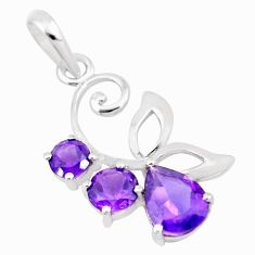 4.34cts natural purple amethyst 925 sterling silver pendant jewelry p17892