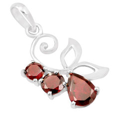 925 sterling silver 4.04cts natural red garnet pear pendant jewelry p17900