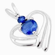 2.02cts natural blue iolite 925 sterling silver heart pendant jewelry p17911