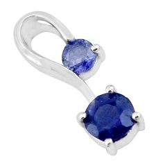 1.63cts natural blue iolite round 925 sterling silver pendant jewelry p17940