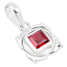 1.13cts natural red garnet square 925 sterling silver pendant jewelry p18021
