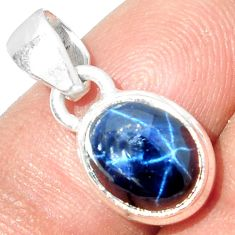 4.79cts NATURAL BLUE STAR SAPPHIRE 925 STERLING SILVER PENDANT JEWELRY P18864