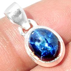 4.62cts NATURAL BLUE STAR SAPPHIRE 925 STERLING SILVER PENDANT JEWELRY P18865