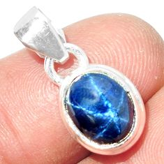 925 STERLING SILVER 4.30cts NATURAL BLUE STAR SAPPHIRE PENDANT JEWELRY P18866