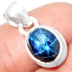 4.25cts NATURAL BLUE STAR SAPPHIRE 925 STERLING SILVER PENDANT JEWELRY P18867