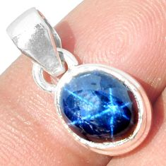 4.29cts NATURAL BLUE STAR SAPPHIRE 925 STERLING SILVER PENDANT JEWELRY P18873