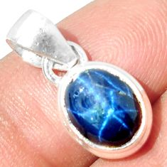 925 STERLING SILVER 4.54cts NATURAL BLUE STAR SAPPHIRE PENDANT JEWELRY P18875