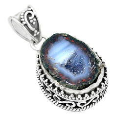 13.07cts natural brown geode druzy 925 silver pendant jewelry p18921