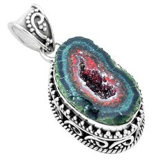 13.84cts natural brown geode druzy 925 silver pendant jewelry p18922