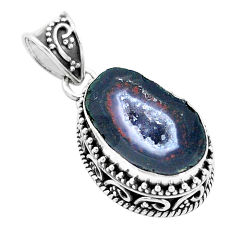 925 silver 13.84cts natural brown geode druzy pendant jewelry p18924
