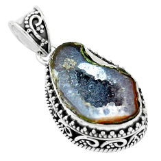 13.79cts natural brown geode druzy 925 silver pendant jewelry p18931
