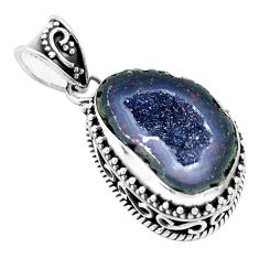 13.03cts natural brown geode druzy 925 silver pendant jewelry p18932