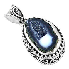 925 silver 15.24cts natural brown geode druzy fancy pendant p18936