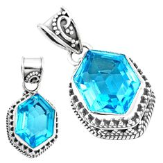 10.53cts natural blue topaz 925 sterling silver pendant jewelry p18945