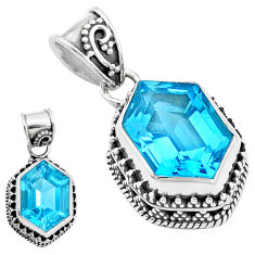 11.21cts natural blue topaz 925 sterling silver pendant jewelry p18948