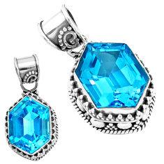 925 sterling silver 11.21cts natural blue topaz fancy shape pendant p18952