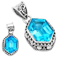 11.54cts natural blue topaz 925 sterling silver pendant jewelry p18953