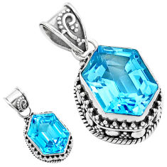 11.22cts natural blue topaz 925 sterling silver pendant jewelry p18954