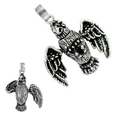3d moving charm solid 925 sterling silver eagle pendant jewelry p1901