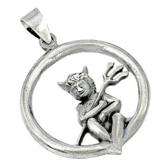 Indonesian bali style solid 925 silver circle in baby angel pendant p1926