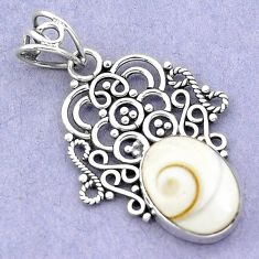 5.84cts natural white shiva eye 925 sterling silver pendant jewelry p19381