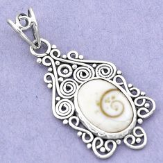 925 sterling silver 5.54cts natural white shiva eye oval pendant jewelry p19384