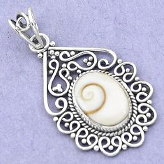 7.04cts natural white shiva eye 925 sterling silver pendant jewelry p19386