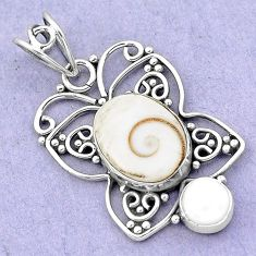 6.98cts natural white shiva eye pearl 925 sterling silver pendant jewelry p19388