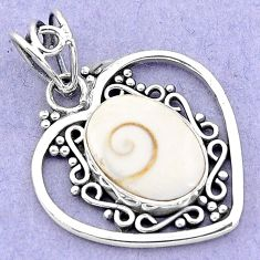6.72cts natural white shiva eye 925 sterling silver heart pendant jewelry p19389