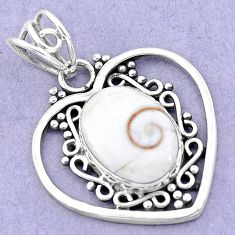 925 sterling silver 6.26cts natural white shiva eye heart pendant jewelry p19393