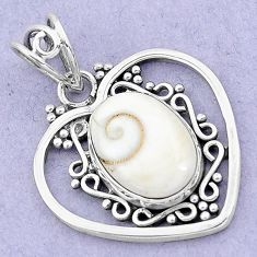 6.27cts natural white shiva eye 925 sterling silver heart pendant jewelry p19395