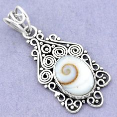 6.04cts natural white shiva eye 925 sterling silver pendant jewelry p19398